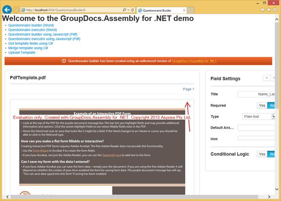 GroupDocs.Assembly for .NET のスクリーンショット