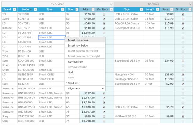 Captura de tela do Handsontable Pro