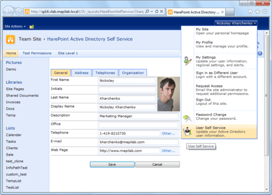 Screenshot of HarePoint Active Directory Self Service