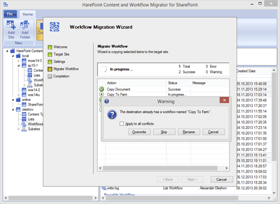 Screenshot of HarePoint Content and Workflow Migrator