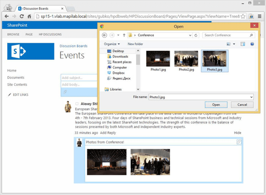 Screenshot of HarePoint Discussion Board for SharePoint