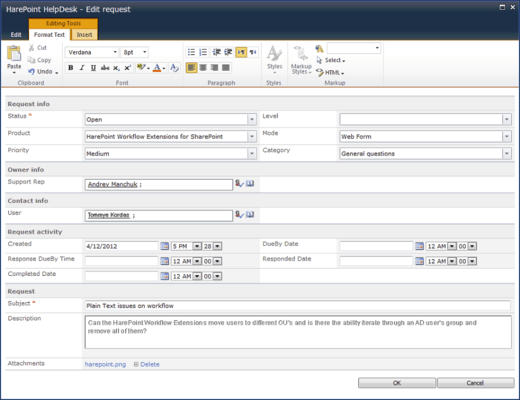 Screenshot of HarePoint HelpDesk for SharePoint