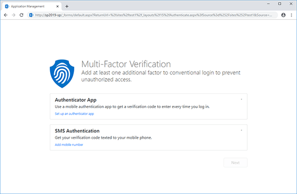 HarePoint Multi-Factor Authentication (MFA) for SharePoint 的螢幕截圖