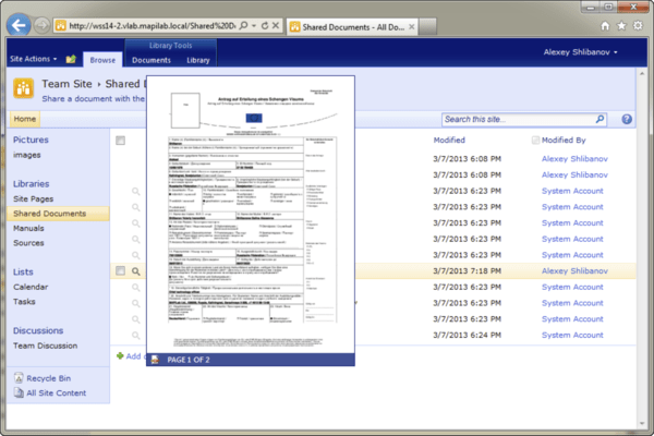 Screenshot of HarePoint Thumbnails for SharePoint