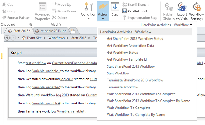Captura de tela do HarePoint Workflow Extensions for SharePoint