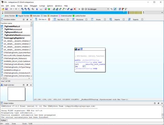 IDA Pro + Hex-Rays Decompilers 스크린샷