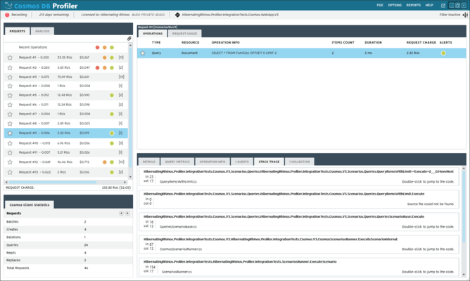 Screenshot of Cosmos DB Profiler