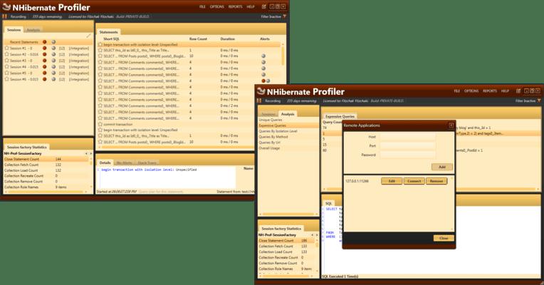 NHibernate Profiler のスクリーンショット