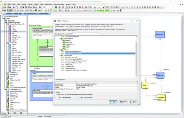 Screenshot of ER/Studio Data Architect for Sybase