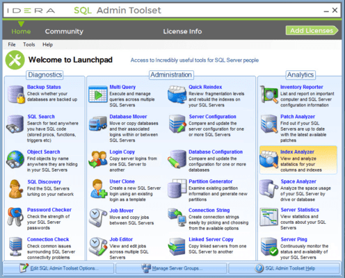 Screenshot von SQL Admin Toolset