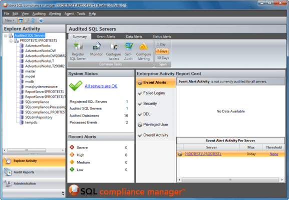 Captura de tela do SQL Compliance Manager