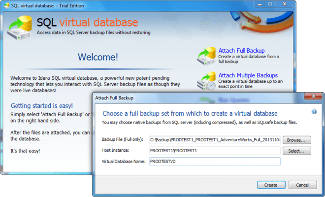 Screenshot of SQL Virtual Database