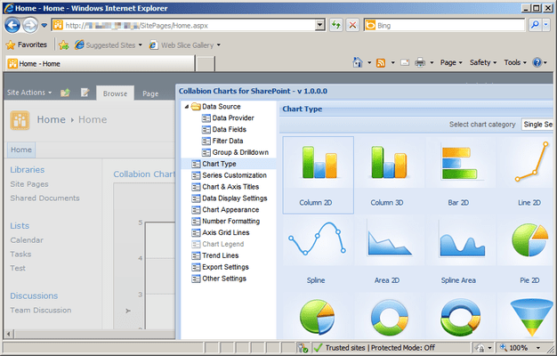 Screenshot of Collabion Charts for SharePoint