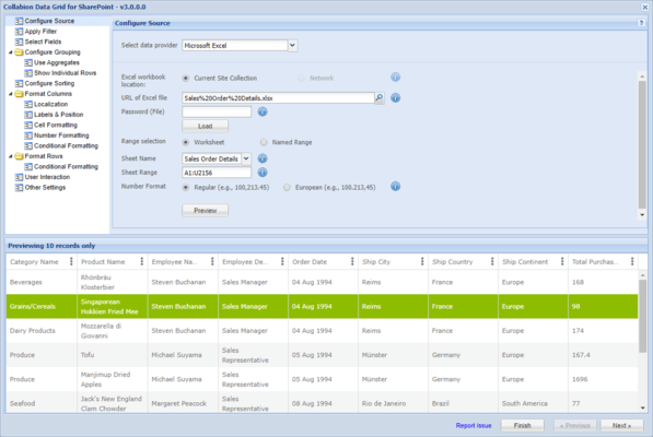 Collabion Data Grid for SharePoint 스크린샷