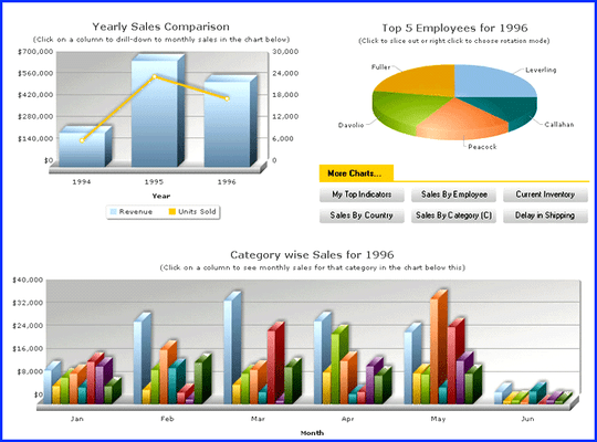 Screenshot of FusionCharts XT