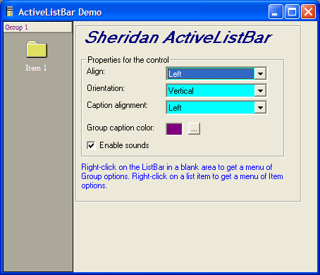 Screenshot of ActiveListBar
