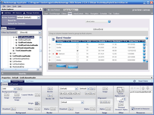 Infragistics NetAdvantage AppStylist のスクリーンショット