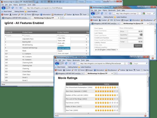 Infragistics NetAdvantage for jQuery(英語版) のスクリーンショット