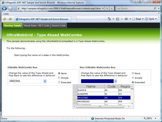 Screenshot of Infragistics WebCombo