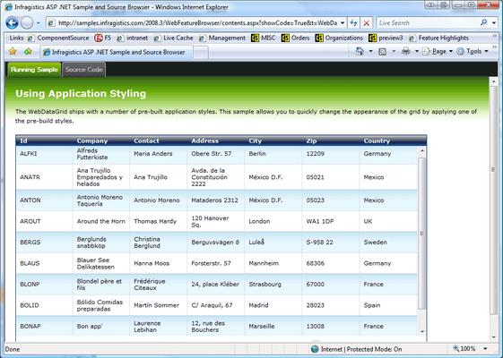 Screenshot of Infragistics WebDataGrid