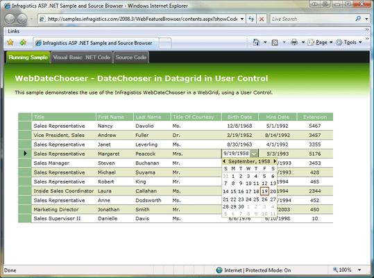 Infragistics WebDateChooser のスクリーンショット
