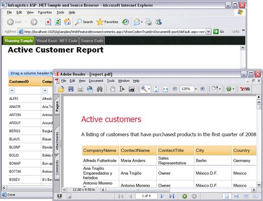 Infragistics WebGridDocumentExporter のスクリーンショット