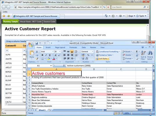 Infragistics WebGridExcelExporter のスクリーンショット