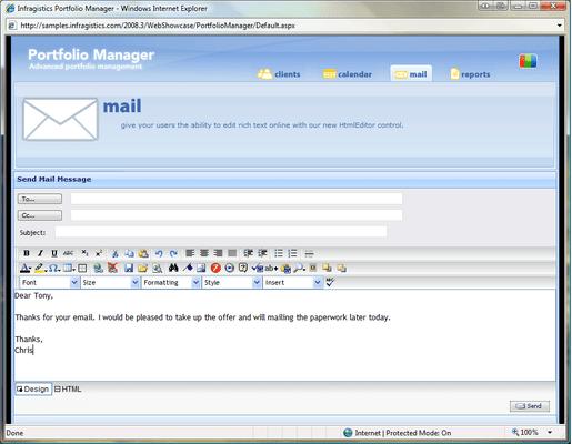 Infragistics WebHtmlEditor のスクリーンショット