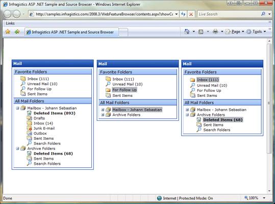 Screenshot of Infragistics WebPanel