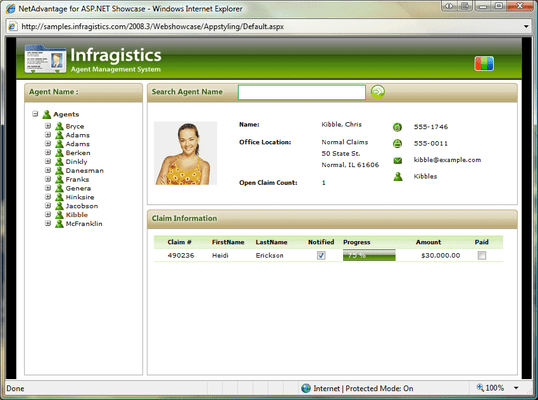 Screenshot of Infragistics WebResizingExtender