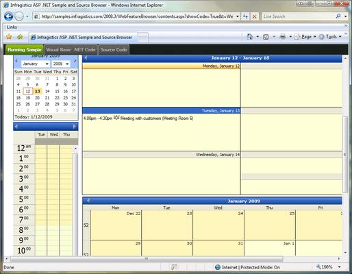 Screenshot of Infragistics WebSchedule