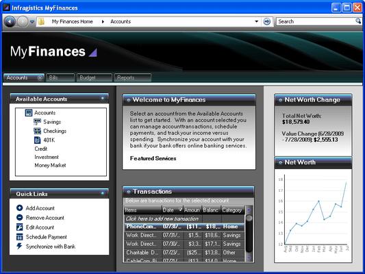 Screenshot of Infragistics WinTab