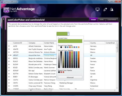 Screenshot of Infragistics xamColorPicker