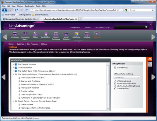 Infragistics xamDataTree のスクリーンショット