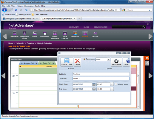 Screenshot of Infragistics xamSchedule
