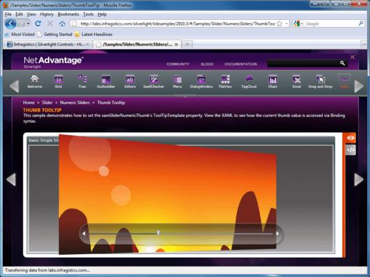 Screenshot of Infragistics xamSlider