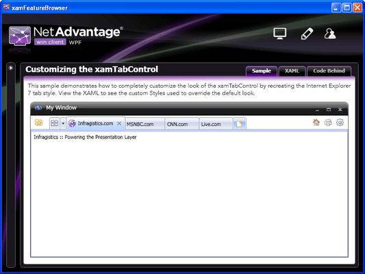Infragistics xamTabControl のスクリーンショット