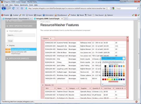 Screenshot of NetAdvantage for Silverlight Line of Business
