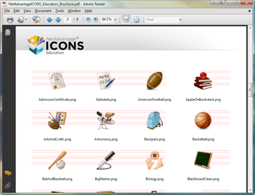 Screenshot of NetAdvantage ICONS Education Pack