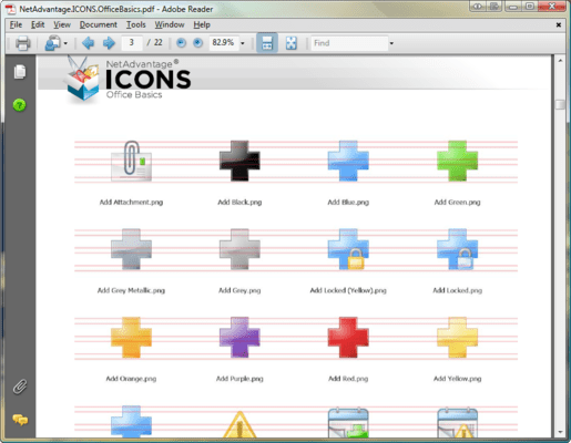 Screenshot of NetAdvantage ICONS Office Basics Pack
