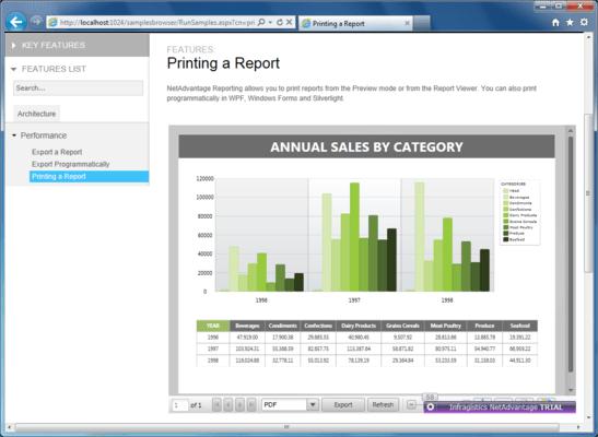 Screenshot of NetAdvantage Reporting