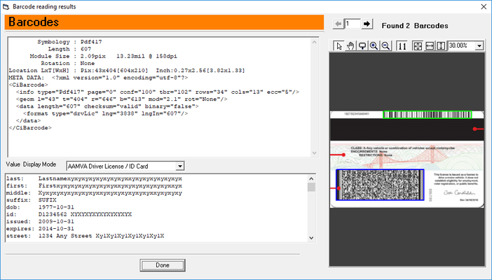 Screenshot of ClearImage Barcode Reader SDK