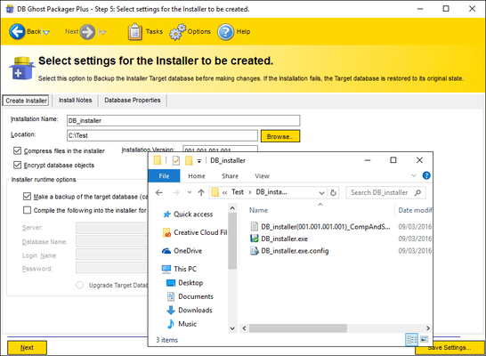 Screenshot of DB Ghost Packager Plus Professional
