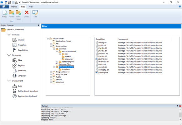 Screenshot of InstallAware MSIX Editor