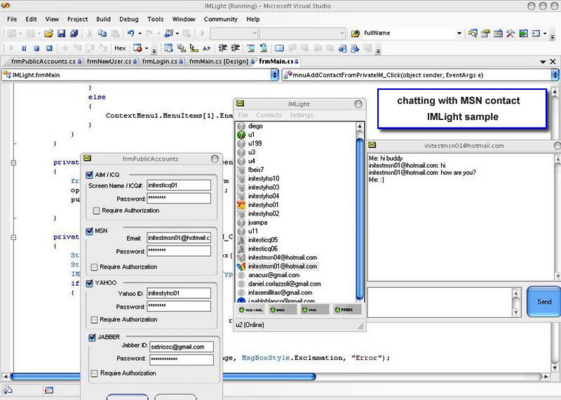 Screenshot of Instant Messaging Software Development Kit