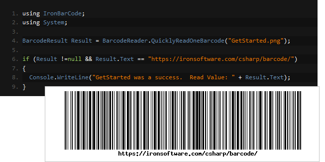 Screenshot of IronBarcode