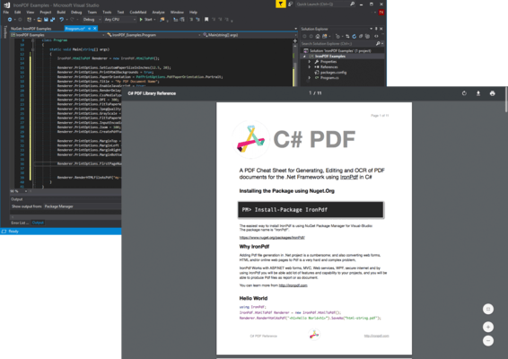 IronPDF for .NET 的螢幕截圖