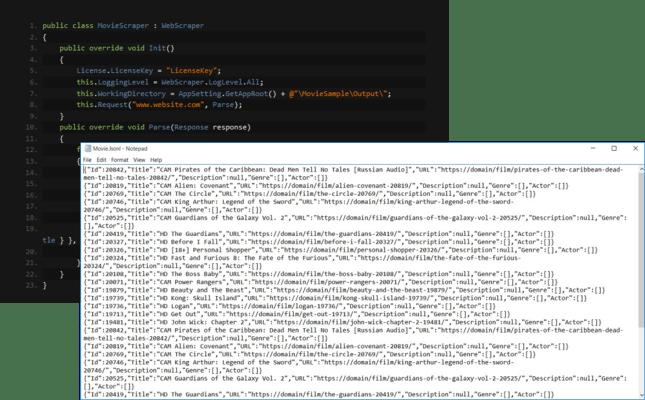 Screenshot of IronWebScraper
