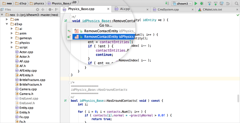 Screenshot of CLion