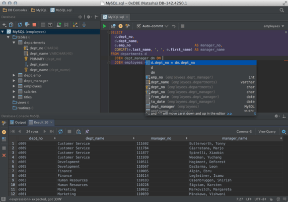 Screenshot of DataGrip